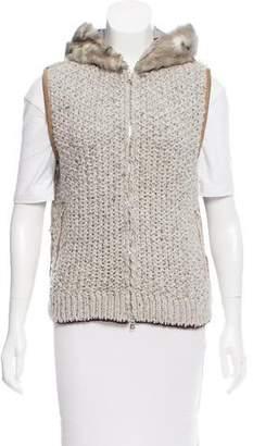 Prada Sport Hooded Fur-Paneled Vest