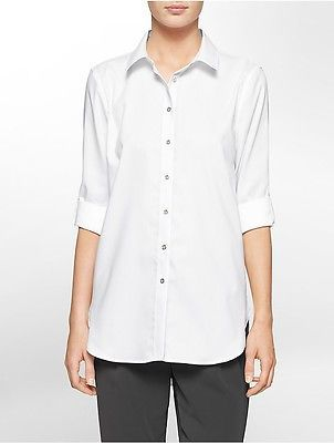 Calvin Klein Calvin Klein Womens Non-Iron Cotton High Low Roll-Up Sleeve Tunic Shirt