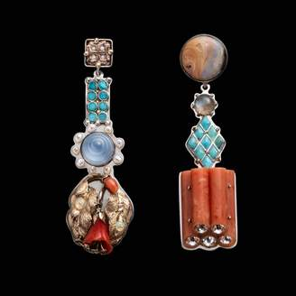 Lulu Frost Fine Vintage Large Totem Earrings - Coral Stack Turquoise