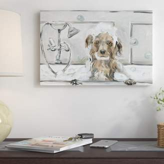 Three Posts 'Bubble Bath Puppy' Oil Painting Print on Wrapped Canvas