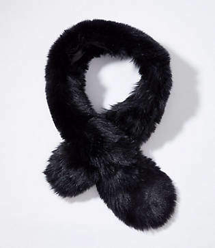 LOFT Faux Fur Pull Through Scarf