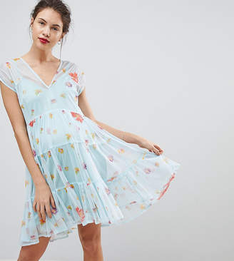 Asos Mesh Smock Dress In Floral Print