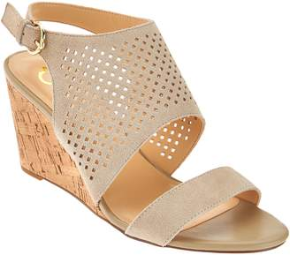 C. Wonder Perforated Suede Cork Wedge Sandals - Sheila