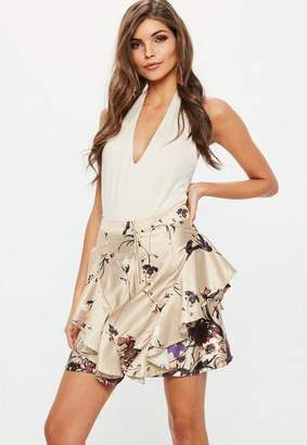 Missguided Gold Printed Zip Front Frill Mini Skirt