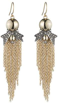 Alexis Bittar Gold Ball with Pave Burst and Chain Detail Wire Drop Earrings
