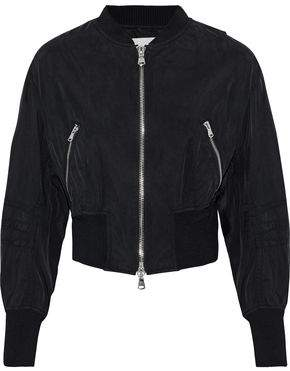 3.1 Phillip Lim Cropped Zip-Detailed Washed-Shell Bomber Jacket