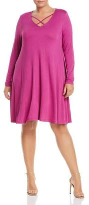 Glamorous CURVY Long Sleeve Crisscross Dress
