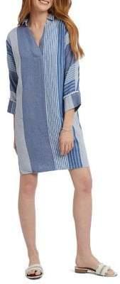Nic+Zoe Fiji Striped Linen-Blend Dress