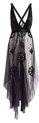 Figue Women's Eliana Mesh Beaded Handkerchief Top