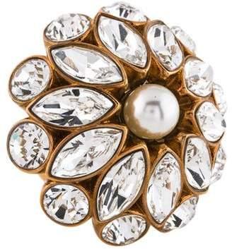 Stella McCartney Faux Pearl & Crystal Flower Ring