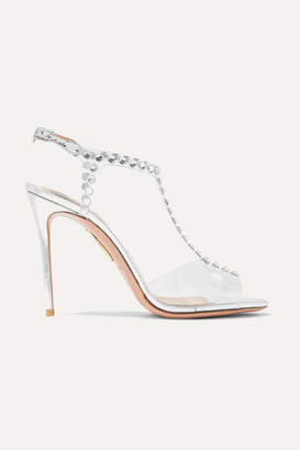 Aquazzura Shine Embellished Pvc And Metallic Leather Sandals - Silver