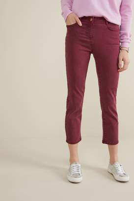 Next Womens Berry Soft Touch Cropped Jeans - Red