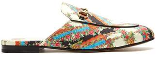 Gucci Princetown Floral Print Backless Loafers - Womens - White Multi