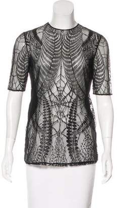 Gucci Lace-Trimmed Short Sleeve Top