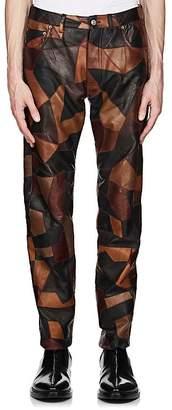 Balenciaga Men's Patchwork Leather Slim Jeans