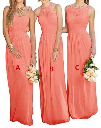 GMAR Women's Chiffon BridesmBid Dresses Sleeveless Long Prom Evening Gowns