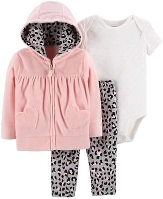 Carter's Baby Girl Velour Hoodie, Polka-Dot Bodysuit & Cheetah Leggings Set