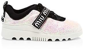 7088da94547 Miu Miu Women s Glitter Logo Platform Sneakers