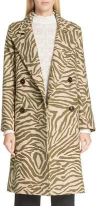See by Chloe Zebra Print Wool Blend Coat