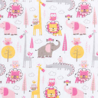 Trend Lab TREND LAB, LLC Pink Animal Safari Flannel Crib Sheet