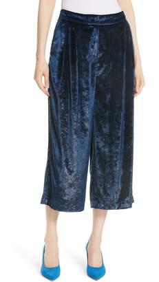 Tibi Stella Metallic Velvet Wide Leg Crop Pants