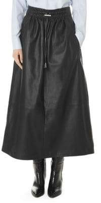 Tibi Leather Drawstring Waist Full Skirt