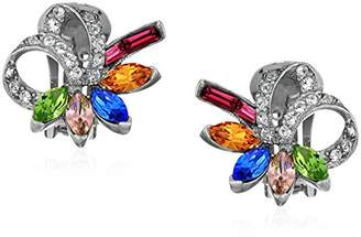 Swarovski Ben-Amun Jewelry Crystal Collage Bridal Wedding Multi-Color Clip Earrings