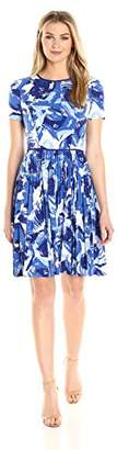 Maggy London Women's Brushed Bud Jersey Fit and Flare Pleated Skirt