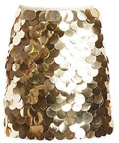 Sara Battaglia Women's Metallic Pailette Mini A-line Skirt