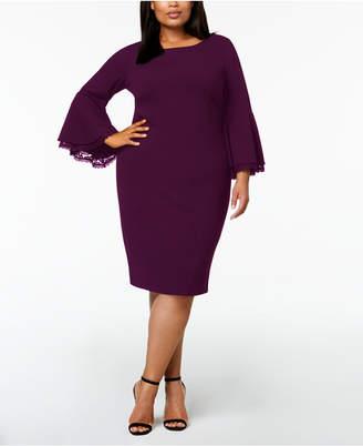 Calvin Klein Plus-Size Lace-Trim Bell-Sleeve Dress