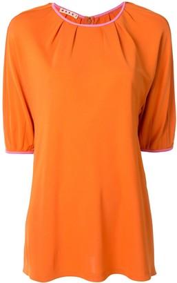 Marni pleated details half-sleeved top