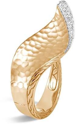John Hardy 18K Yellow Gold Classic Chain Hammered Pavé Diamond Wave Ring