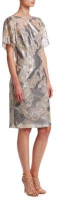 Teri Jon by Rickie Freeman Short-Sleeve Sequin Lace Dress