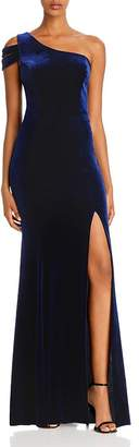 Aqua Velvet One-Shoulder Gown - 100% Exclusive