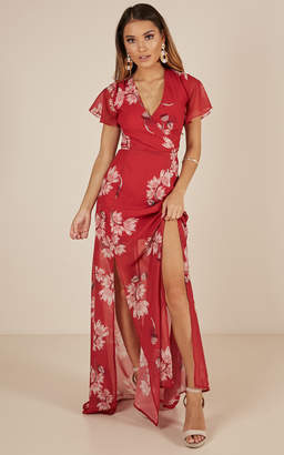 Showpo Whole New World Maxi dress in red floral