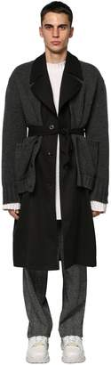 Maison Margiela KNIT CARDIGAN & GABARDINE TRENCH COAT