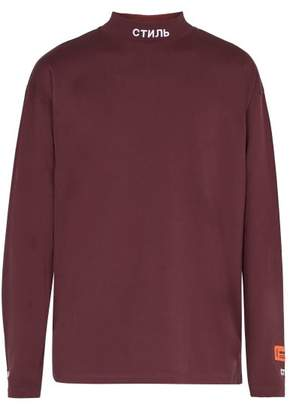 Heron Preston - Embroidered High Neck Long Sleeved T Shirt - Mens - Purple