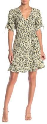 Love Stitch Leopard Print Mini Wrap Dress