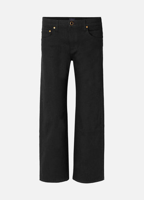 Khaite - Wendell Cropped High-rise Wide-leg Jeans - Black