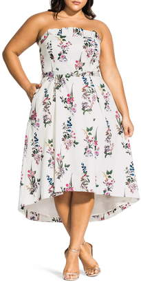 City Chic Sweet Bouquet Strapless A-Line Dress