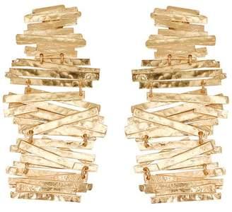 Josie Natori Hammered Metal Stacked Earrings