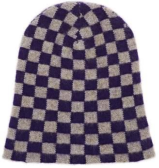 The Elder Statesman Women's Big Checks Cashmere Cap