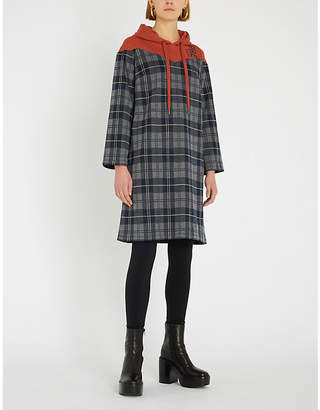 B+AB Checked hooded cotton-jersey dress