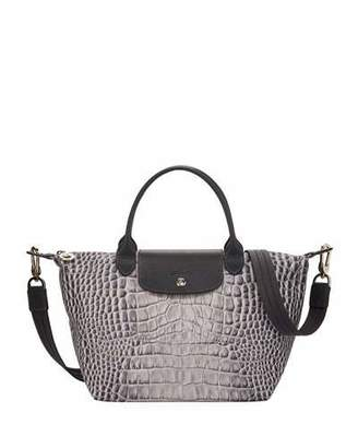 Longchamp Le Pliage Croco Small Handbag with Strap