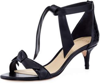 Alexandre Birman Clarita 50mm Crocodile Bow Sandals, Black