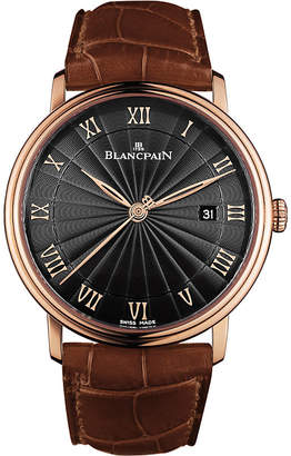 Rosegold BLANCPAIN 6651-3630-55B Villeret 18ct rose-gold automatic alligator leather strap watch