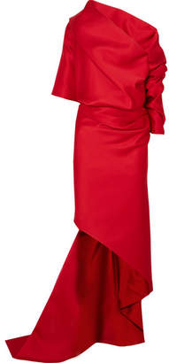 6c8e912d9ebf1 Balenciaga One-shoulder Draped Duchesse-satin Gown - Red