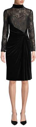 Tadashi Shoji Lace Long-Sleeve & Velvet Ruched Dress