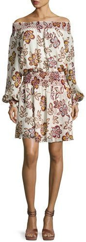 Tory BurchTory Burch Indie Smocked Off-the-Shoulder Floral Silk Dress, Ivory