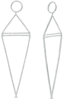 Zales Vera Wang Love Collection 2-1/2 CT. T.W. Diamond Circle and Triangle Elongated Drop Earrings in 14K White Gold